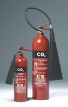 """co2 fire extinguisher research 5lb class b:c carbon dioxide fire extinguisher carbon dioxide is discharged as a white cloud of """"snow"""" which smothers a fire by eliminating oxygen."""